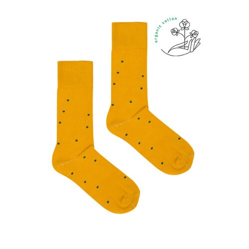 Kabak - Mustard with green dots - Socks - Organic Cotton