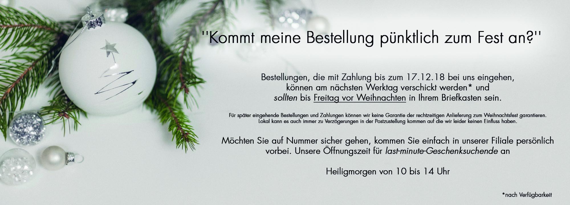 Wichtige Info zu Weihnachten!